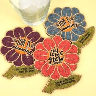 Personalized Spring Flower Cork Coaster