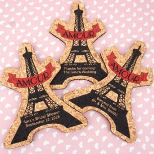 Personalized Eiffel Tower Cork Coaster