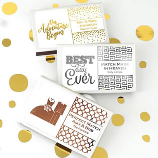Metallic Foil Personalized Matches - Set of 50 (White Box)