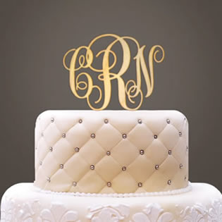 Monogram Initials Wooden Cake Topper