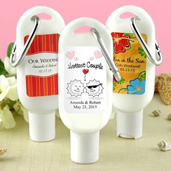 Sunscreen Favors with Carabiner (SPF 30): Unique Designs