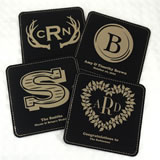Monogram Square Faux Leather Coasters
