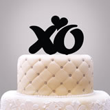 """XO"" With Heart Cake Topper"