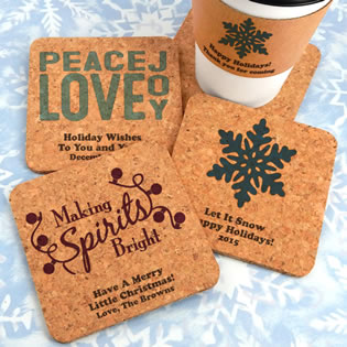 Holiday Square Cork Coasters