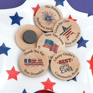 Patriotic Wooden Nickel Magnets