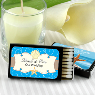 Personalized Matches - Set of 50 (Black Box): Beach Designs
