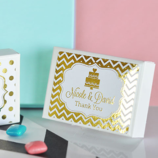 Personalized Metallic Foil Gum Boxes - Wedding