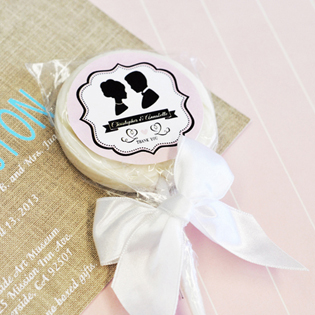 Vintage Wedding Personalized Lollipop Favors