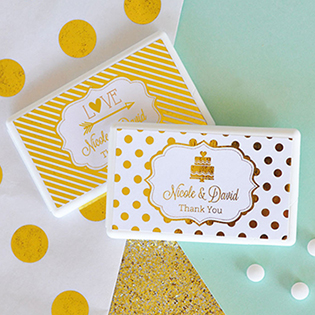 Personalized Metallic Foil Mini Mint Favors - Wedding
