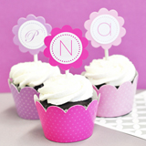 Monogram Cupcake Wrappers & Cupcake Toppers
