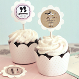 Vintage Wedding Cupcake Wrappers & Cupcake Toppers