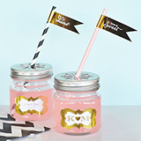 Personalized Metallic Foil Mason Jar Drinking Glasses with Flower Cut Lids - Wedding
