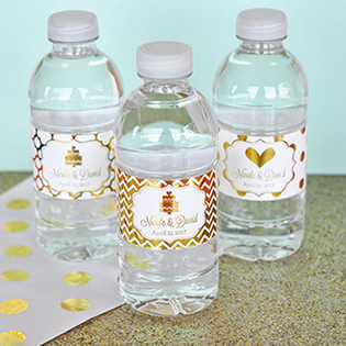 Personalized Metallic Foil Water Bottle Labels - Wedding