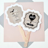 Personalized Paddle Fans - Vintage Wedding