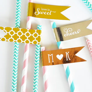 Personalized Metallic Foil Flag Labels - Wedding