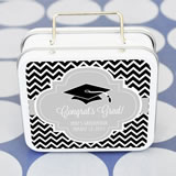 """Hats off to You"" Personalized Graduation Suitcase Tins"