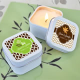 """Fall for Love"" Personalized Square Candle Tins"