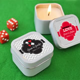 """A Lucky Pair"" Personalized Vegas Square Candle Tins"