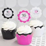 Sweet Sixteen Cupcake Wrappers & Cupcake Toppers