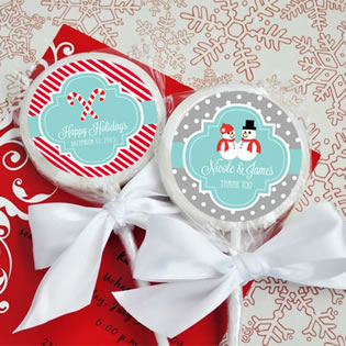 A Winter Holiday Personalized Lollipop Favors