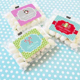 A Winter Holiday Personalized Jelly Bean Packs