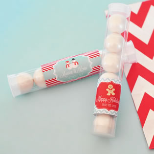 A Winter Holiday Personalized Candy Tubes