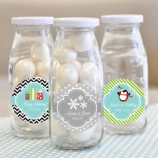 A Winter Holiday Personalized Milk Bottles