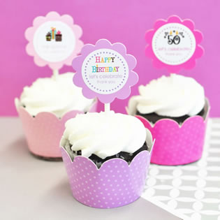 Birthday Cupcake Wrappers & Cupcake Toppers