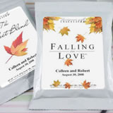 Personalized Fall Theme Coffee Favors, White Bag - (5 designs available)