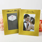 "Silk- Screened Personalized Gold Wide border beveled Glass frame  4"" x 6"""