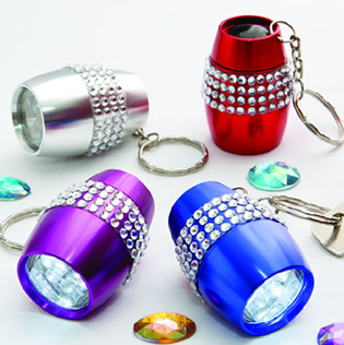 Bling LED flashlight keychain from Gifts By Fashioncraft