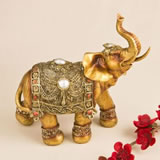 Large golden decorative elephant