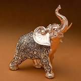 Glorious Champagne Gold antique standing elephant with clear stones