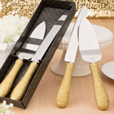 Golden elegance collection cake server and knife set