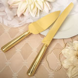 Simple elegance classic gold stainless steel cake knife set