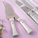 Cross and heart design Knife and engraved server set