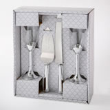 Silver 4 piece glass and engraved server set