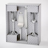 Silver 4 piece glass and server set