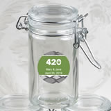 Personalized Expressions Collection Apothecary Jar Favor - cannabis design
