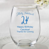 Personalized 15oz Stemless Wine Glasses - birthday design