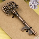 Copper skeleton key bottle opener with a heavy kraft paper backer card