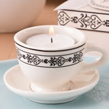 Tea time cream colored ceramic tea cup & saucer tea light candle holder