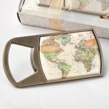 Vintage travel themed map design metal bottle opener from fashioncraft