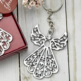 Silver angel with stones key chain