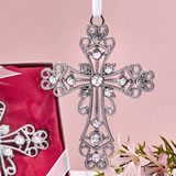 Silver cross ornament with stones
