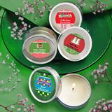 Design Your Own Collection Scented Round Travel Candles - Holiday Themed