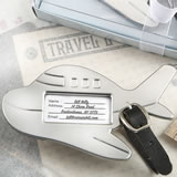 Adorable silver Airplane metal luggage tag