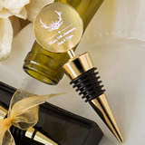 Personalized metallics collection gold metal wine bottle stopper with a gold metal round top