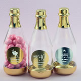 Personalized metallics gold accented clear champagne bottle container