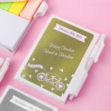 Personalized metallics collection white Note Book with pen and color coded sticky tabs